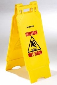 Folding Plastic Safety Sign - Caution Wet Floor